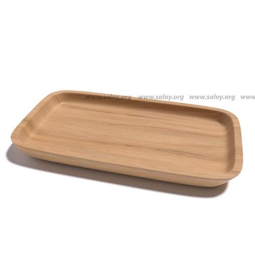 Тарелка деревянная прямоугольная  Ds -018 для подачи суши или шаурмы