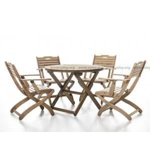 Комплект садовый деревянный складной ( Четыре стула и стол)