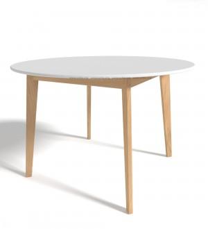 Стол обеденный St-004  Д.114 см натуральное дерево/белый
